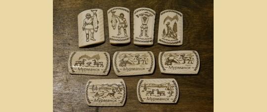 Магниты из кости оленя «Пейзаж» с надписью